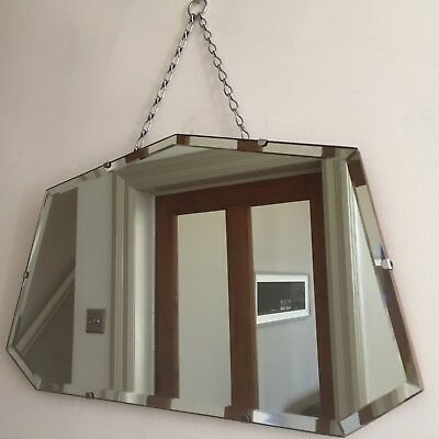 Vintage Frameless Fan Mirror Bevelled Art Deco 1940s Original Chain 55x33cm m65