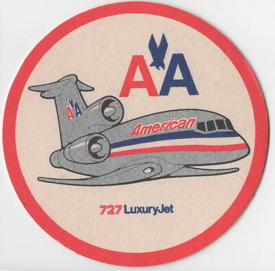 ~ American Airlines 727 Luxury Jet ~ Thick Drinks Coaster ~ Very Rare ~