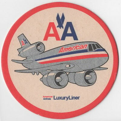 ~ American Airlines Luxury Liner (Dc-10) ~ Thick Drinks Coaster ~ Very Rare ~