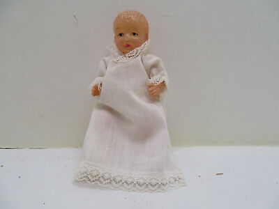 """Vintage Antique Celluloid Doll 5"""" Dressed in Hand Made Gown"""