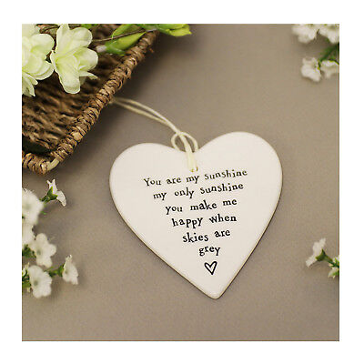 """East of India Porecelin Heart Gift - """"You are my sunshine my only sunshine"""""""