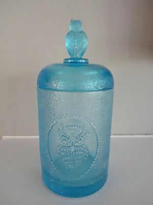 "1978 MOSSER GLASS Blue Stippled Beaded OWL Biscuit Jar 7.25"" #153 Hard to Find"