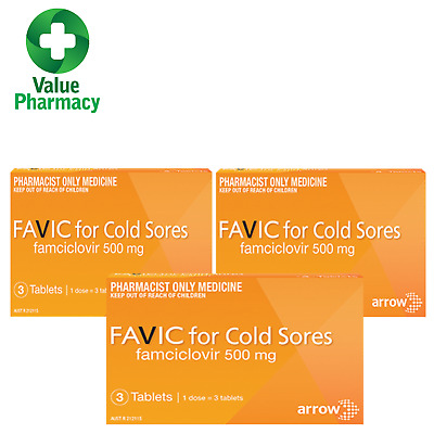 3 x FAVIC Cold Sore Relief 3 Tab Single Dose ( FAMCICLOVIR 500mg)