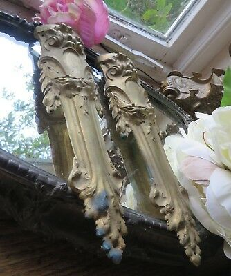 Two Delightful Antique French Solid Brass Laurel Swag Mounts C.1900