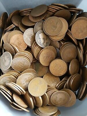 Bulk Lot Of 100 Old British Half Penny Coins From This Box