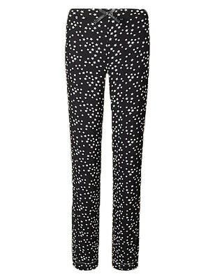 Ex Marks and Spencer Star Print Straight Leg Pyjama Bottoms Size 8 14 (P101.26)