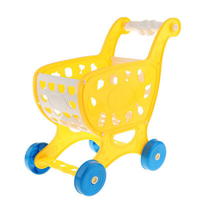 KIDS SUPERMARKET GROCERY PRETEND TROLLEY PLAY GIFT SHOPPING CART TOY Yellow