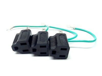 Pack of 3 Electrical Outlet Adapter 3 Prong to 2 Prong with Ground Cable