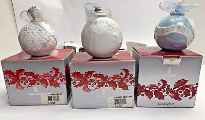 3 LLADRO Annual CHRISTMAS ball Ornaments 2005 2006 2007 w/ Boxes Free Shipping!