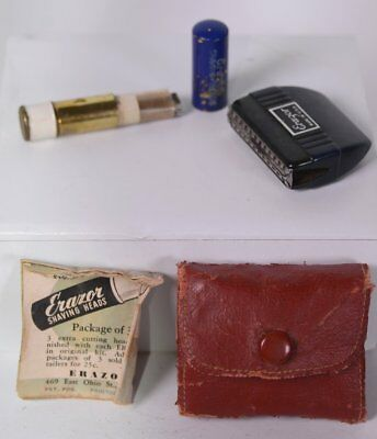"Vintage Red ERAZOR  2"" x 2.5"" Travel Shave Kit w/ Multiple Blades & Instructions"
