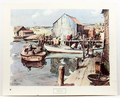 Vintage JAMES SESSIONS Fisherman's Wharf Realism Harbor NY Graphic LITHO #264T