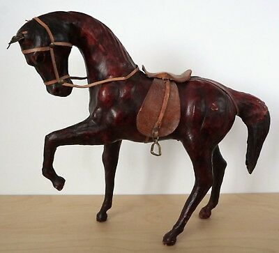 """Hand Carved Wooden Wood Horse w/ Leather Saddle Bridle Metal Stirrups 12"""" Tall"""
