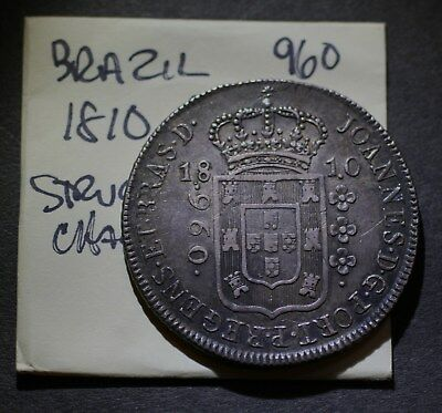 1810 R Brazil 960 Reis, High Grade Silver Coin, Struck over Charles IV 8 Reales