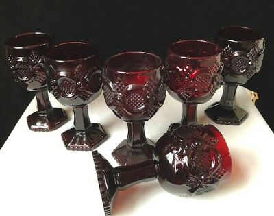 Avon Cape Cod Ruby Red Wine Giblets Set Of 6 One With Candle