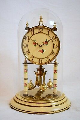 VINTAGE 1960s LARGE KUNDO PAINTED GERMAN BRASS TORSION ANNIVERSARY MANTEL CLOCK