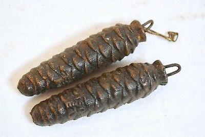 Vintage Pair Of Cast Iron Cuckoo Pine Cone Clock Weights - 150G