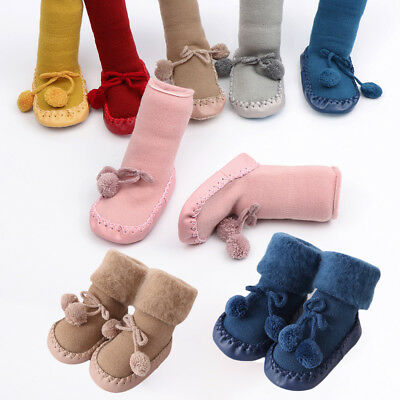 Girls Toddler  Cotton Kids Booties Flats Soft Slippers Floor Socks Baby Shoes