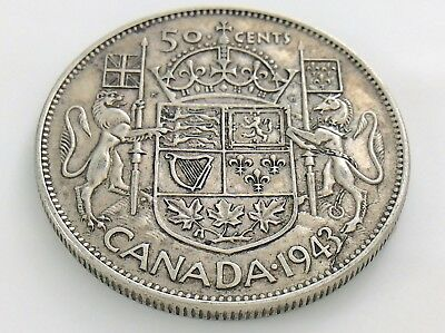 1943 Canada 50 Fifty Cent Half Dollar George VI Canadian Circulated Coin I306