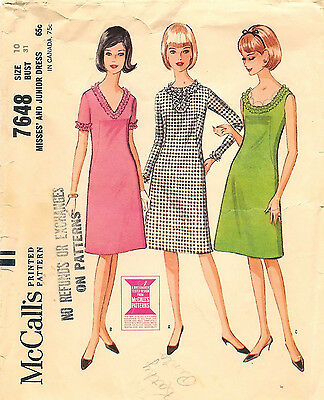 Vintage 1964 McCall's # 7648 Sewing Pattern: Misses' and Junior Dress Size 10