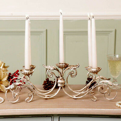Large Vintage Cast Iron 5 Candle Holder Rustic Table Centrepiece Home Decoration