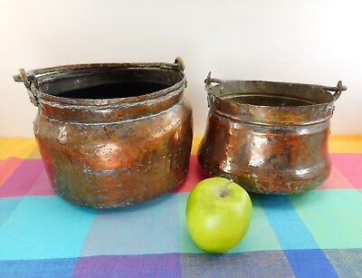 Vtg. Pair Turkish or Greek Primitive Hammered Copper Brass Pot Cauldron Kettles
