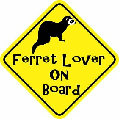 5in x 5in Ferret Lover On Board Magnet Car Truck Vehicle Magnetic Sign