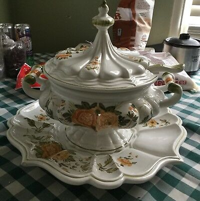 Vintage Italian Soup Tureen With Platter And Ladle