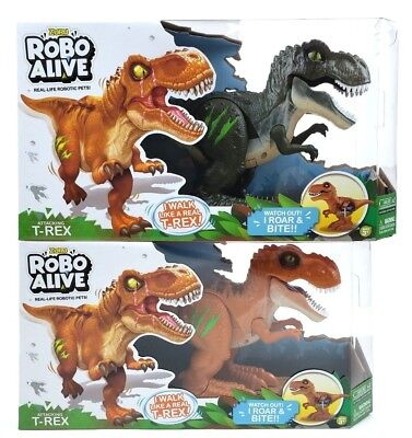 2 ZURU ROBO ALIVE ATTACKING T-REX ROBOTIC PET DINO SOUNDS SCARS GLOW DINOSAUR X2