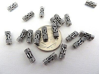 4 Bali Sterling Silver Lariat Tube Pipe Beads 8.6mm