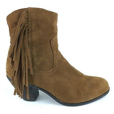 d43676a29 Sam Edelman Louie Ankle Boots Women s 6.5 Brown Suede Leather Fringe Side  Zip