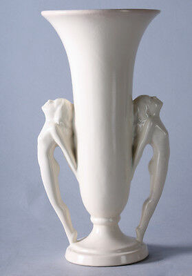 Antique Art Deco Nude Rumrill Double Pin-up Girl Form Figural Pottery Vase Fine+