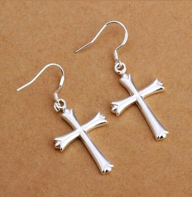 925 Sterling Silver Women Dangle Cross Hoop Pierced Earrings C02