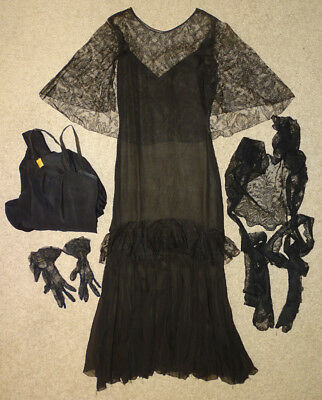 ANTIQUE Vintage 1930's FASHION COUTURE Silk Chiffon FINE BLACK LACE Dress / 5pcs