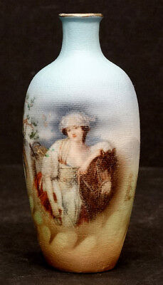 ROYAL BAYREUTH Antique TAPESTRY Handpainted BEAUTY PORTRAIT VASE by WAGNER /rose