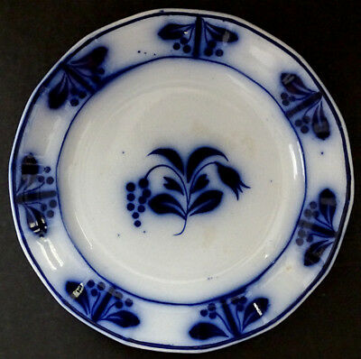 1840's Antique FLOW BLUE Cherry Border BLUEBELL & GRAPES Plate by T&R BOOTE