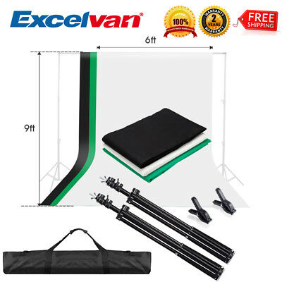9ft X 6ft Green Black White Backdrop Studio Photography Stand 3 Background Kits