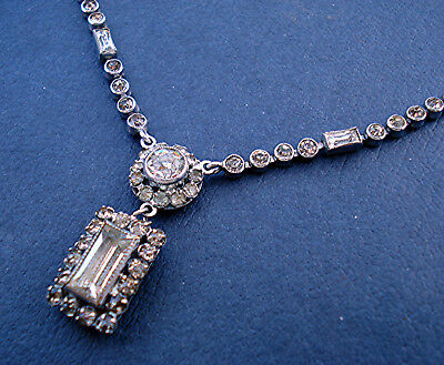 ART DECO PENDANT NECKLACE CLEAR PASTE OBLONG DROP with BAGUETTES VINTAGE 1930s