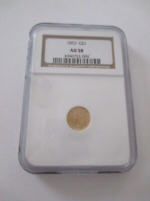1853 Ngc Au 58 $1.00 Gold Piece Coin - Type 1
