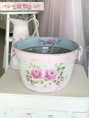Large Farmhouse Pail Bucket Pink Shabby Chic Country Cottage Rustic Hp Roses