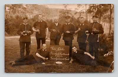 WW1 Antique GERMAN Real Photo RPPC Postcard UNIFORM SOLDIERS One w/ MEAT CLEAVER