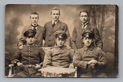Antique WW1 GERMAN Real Photo RPPC Postcard HANDSOME YOUNG SOLDIERS in UNIFORM