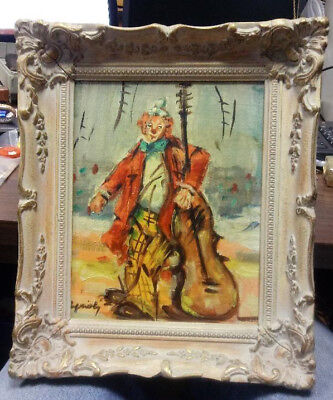 Vintage 1950s 60s CLOWN Sgnd CAPRIOLI Oil PAINTING on CANVAS & Nicely FRAMED