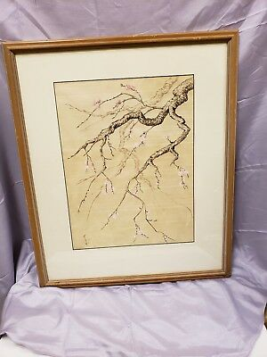 Vintage Oriental Silk Painting Under Glass w/ Wood Frame Signed