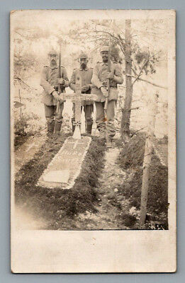 Antique WW1 GERMAN Real Photo RPPC Postcard ARMED SOLDIERS w/ Rifles FRESH GRAVE