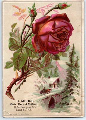1890's J H MEBUS Antique RUBBER BOOTS & SHOES Victorian Trade Card / EASTON PA
