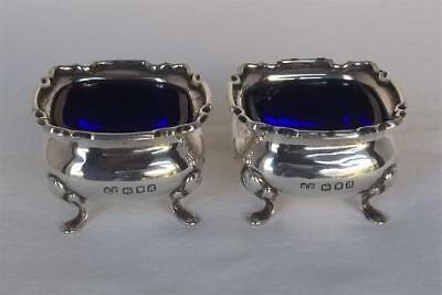 A Fine Antique Pair Of Solid Sterling Silver Open Salt Bowls & Liners Dates 1916