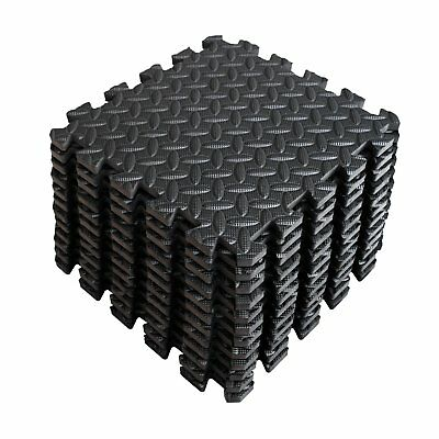 Large Eva Interlocking Foam Soft Play Mats Tiles Black Gym Yoga Activity 60X60Cm