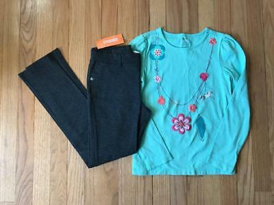 """Gymboree """"Wild For Horses"""" Grey Jeggings + Green Long Tee w""""/Necklace"""" Sz 10 NWT"""