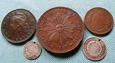Lot of 5 1800 South America Old Coins 1823-1892 Uruguay Buenos Ayres Bolivia etc