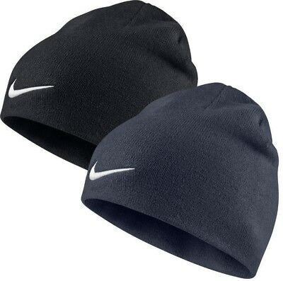 Nike Beanie Hat Navy Blue Black White Tick Logo Swoosh Mens Unisex Woolly Winter